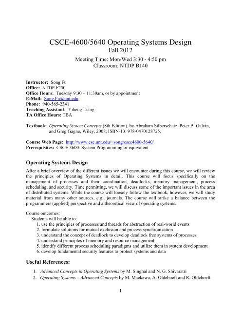 Csce 4600 5640 Operating Systems Design Faculty Profile System