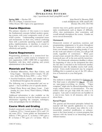 Syllabus 387 Spring 2008 - Loyola Marymount University