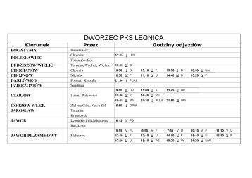 Rozkład jazdy - LEGNICA - PKS Legnica
