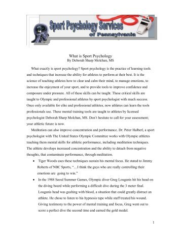 What is Sport Psychology - Mecca Hosting