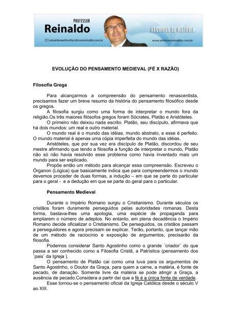 EVOLUÇÃO DO PENSAMENTO MEDIEVAL - Professor Reinaldo ... aa9d6f6145d6e