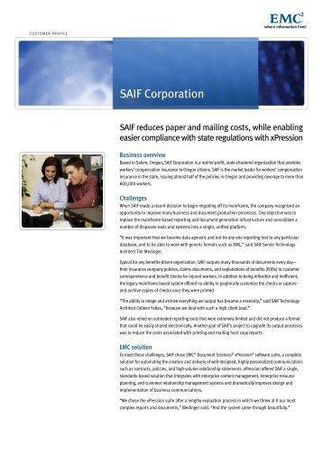 Customer Profile: SAIF Corporation