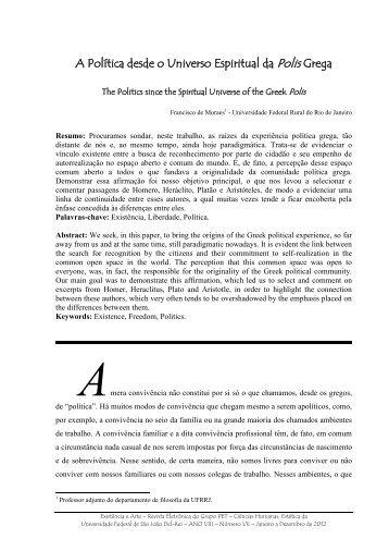 A política desde o universo espiritual da polis grega - UFSJ