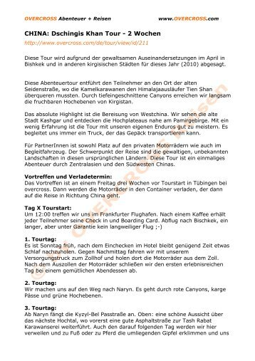Tagesbeschreibung - Overcross Deutschland