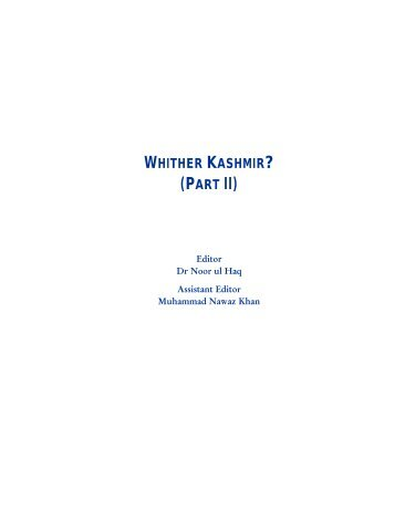 120 Whither Kashmir? (Part II) - Islamabad Policy Research Institute