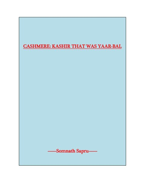 Cashmere: Kashir That Was Yarbal - Kashmir News Network