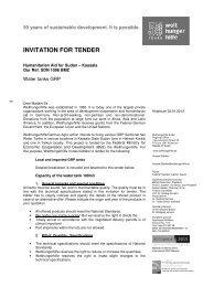 INVITATION FOR TENDER - Welthungerhilfe