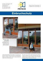 Einbruchschutz - Fritschi-Fensterbau AG
