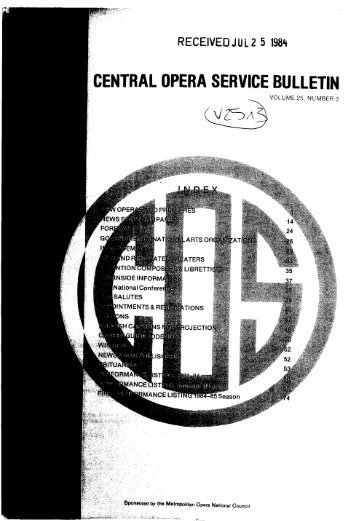 Central Opera Service Bulletin - Summer, 1984 - Cultural Policy and ...