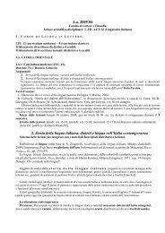 A.a. 2005-06 2. Storia della lingua italiana: dialetti e lingua nell'Italia ...