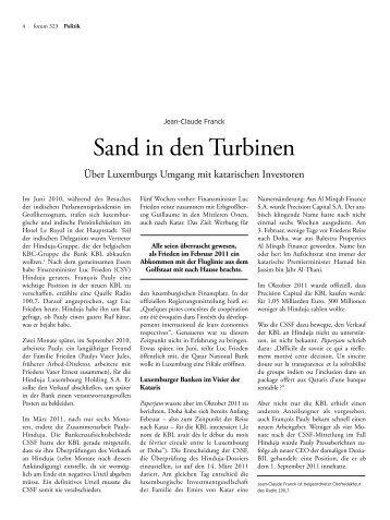 Sand in den Turbinen - Forum – für Politik, Gesellschaft und ...