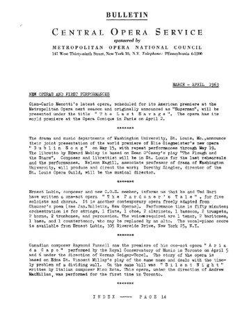 BULLETIN CENTRAL OPERA SERVICE