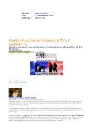 CineShow, salone per il cinema, la televisione e