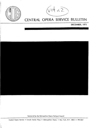 Central Opera Service Bulletin - December, 1971