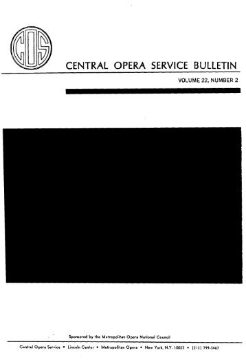 Central Opera Service Bulletin - Directory, 1980 - CPANDA