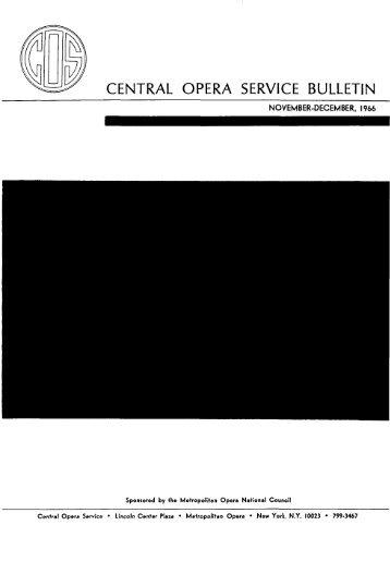 Central Opera Service Bulletin - November - December ... - CPANDA