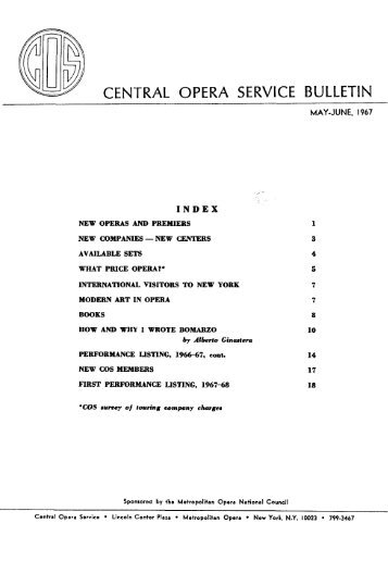 Central Opera Service Bulletin - May - June, 1967