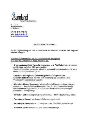 Infoblatt Legalisierung Katar - Visumland