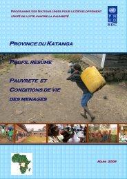 Province du katanga profil resume pauvrete et conditions de ... - PNUD