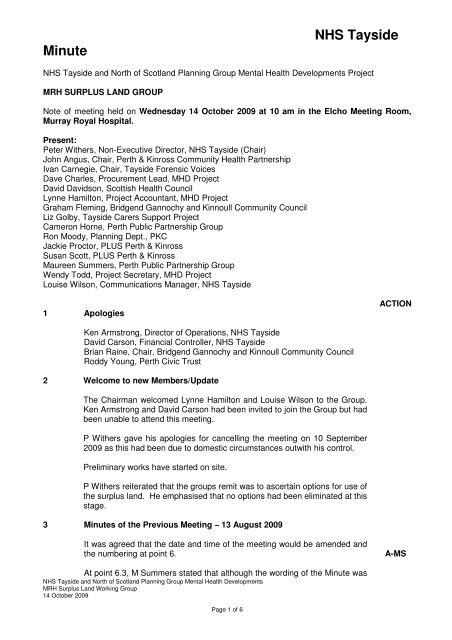 NHS Tayside Minute - MHD Index Page