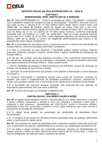 1 ESTATUTO SOCIAL DA CELG DISTRIBUIÇÃO S.A. - CELG D ...
