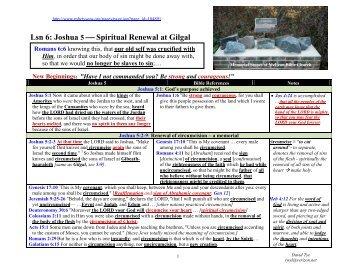 Lsn 6: Joshua 5  Spiritual Renewal at Gilgal - McLean Bible ...