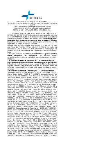 Homologação Ensino Superior (pdf) - Detran | ES - Governo do ...