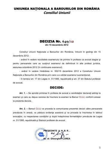 Decizia 649 din 15.12.2012 - INPPA - Cluj