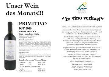 PRIMITIVO IGT 2010 Farnese Vini SRL Sava - Solbadhotel Sigriswil