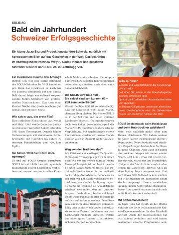 Bald ein Jahrhundert Schweizer Erfolgsgeschichte - Solis