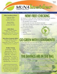 Go GreeN wITh e-sTATeMeNTs! - MUNA Federal Credit Union