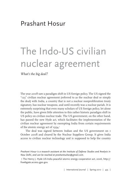 The Indo Us Civilian Nuclear Agreement