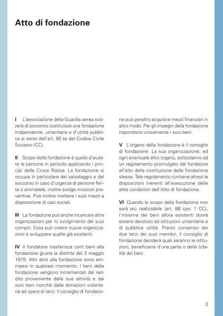 Rega: Atto e regolamento della fondazione
