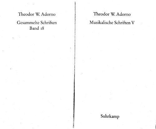 Zur gesellschaftlichen Lage der Musik. In: Adorno, Theodor W ...