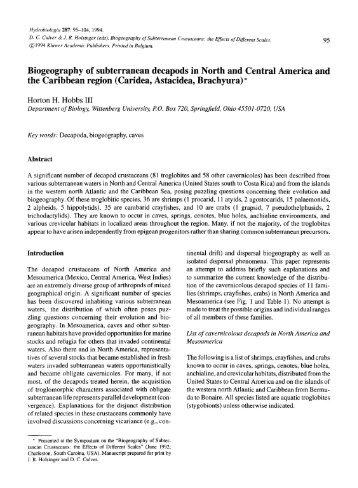 Biogeography of subterranean decapods in North ... - AToL Decapoda