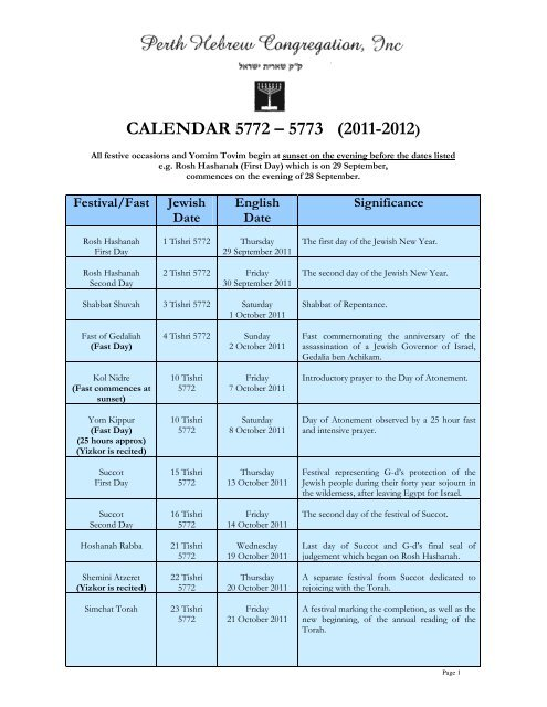 Yom Tov Services - Full calendar and Chagim times - The Perth ...