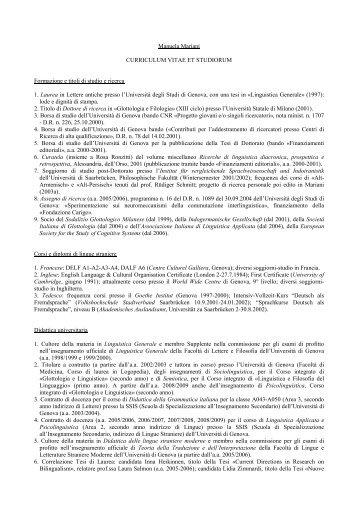MARIANI Manuela - Società Italiana di Glottologia