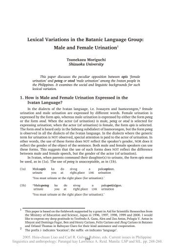 Lexical Variations in the Batanic Language Group: Male and Female ...