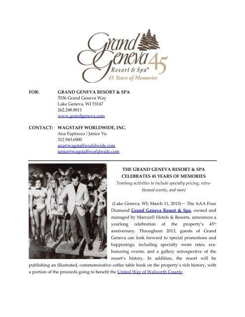 FOR: GRAND GENEVA RESORT & SPA 7036 Grand Geneva Way ...