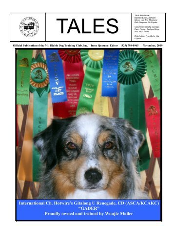 Proudly owned and trained by Woujie Mailer - Mt Diablo Dog ...