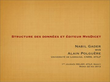 Nabil Gader Alain Polguère - Atilf
