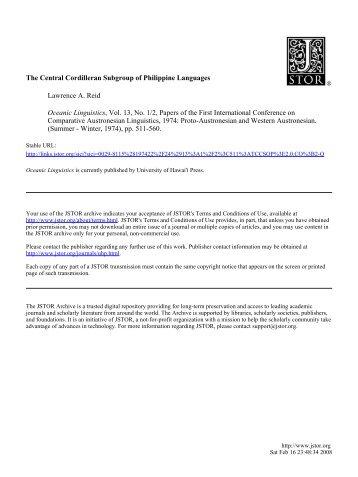 The Central Cordilleran Subgroup of Philippine Languages ...