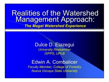 watershed management realities - Philippine Institute for ...