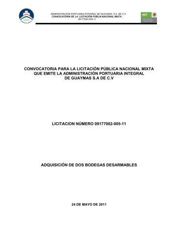 Para la adquisición de: dos bodegas desarmables - Puerto de ...