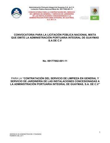 Contratación del servicio de limpieza en general - Puerto de Guaymas