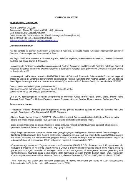 Curriculum Vitae Alessandro Chiaudani Nato A Genova Il