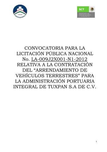 CONVOCATORIA PARA LA LICITACIÓN ... - Puerto de Tuxpan