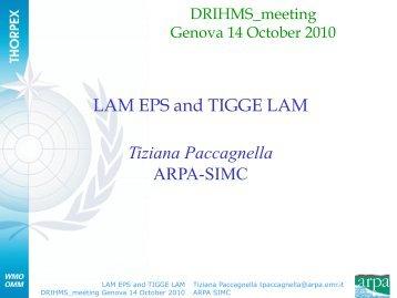 Limited Area Ensemble Forecasting and TIGGE LMA - DRIHMS