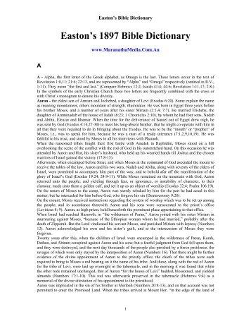 Easton's 1897 Bible Dictionary - Friendsofsabbath.org