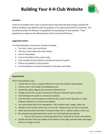 Building Your 4-H Club Website (PDF) - University of Missouri